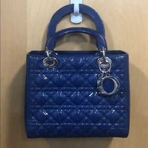 Christian dior lady dior patent leather blue